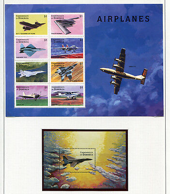 Dominica airplanes lot of two souvenir sheets MNH **, very decorative