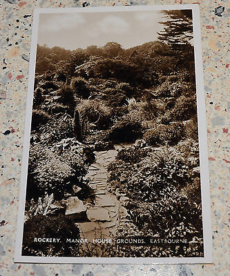 Rare Vintage  Postcard of the Rockery, Manor House Grounds, Eastbourne