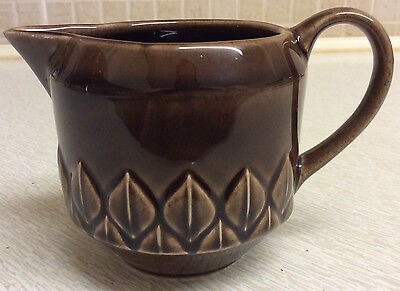 "Vintage Holkham brown milk/cream glazed pottery jug 3"" tall"