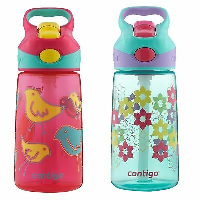 Contigo AUTOSPOUT Striker Kids Straw Water Bottle 14oz Set Pink Bird & Lilies