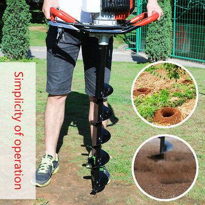 52cc Petrol Earth Auger Digger 3HP V-Type Post Hole Borer Ground Drill+3 Bits UK