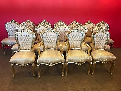 Louis Xvi Royal Palace Gold Leaf Dining Chairs Available In Sets 8,10,12,14,16