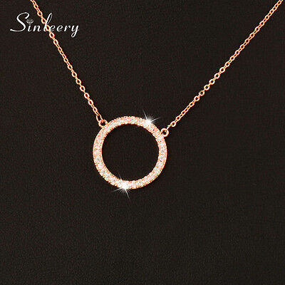 Hollow Micro Paved Crystal Round Circle Choker Pendant Necklace Women Jewelry