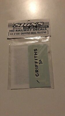 GRIFFITHS Brothers Tea Coffee Cocoa decals for Victorian Railways 6 who U van