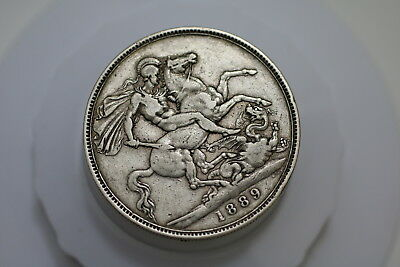 Uk Gb Crown 1889 Silver Victoria Nice Details A71 #586