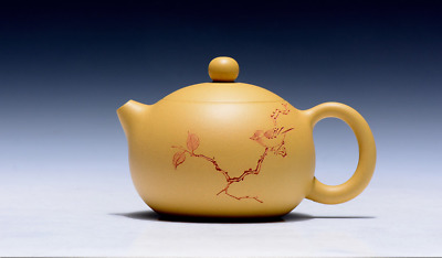 PURE YIXING DARK-RED ENAMELED POTTERY YELLOW  TEAPOT zrf