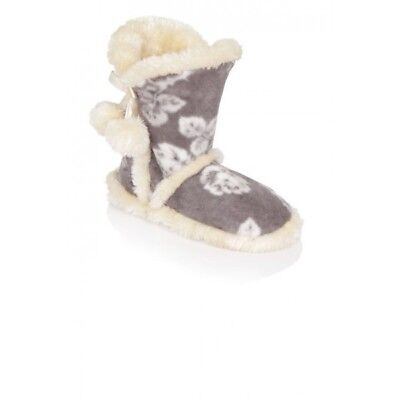 Ladies Grey Rose Floral Plush Fleece & Fur Snuggly Sherpa Lined Slipper Boots
