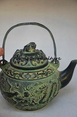 COLLECTIBLE CHINESE BRONZE OLD HANDWORK DRAGON PHOENIX TEAPOT Zw