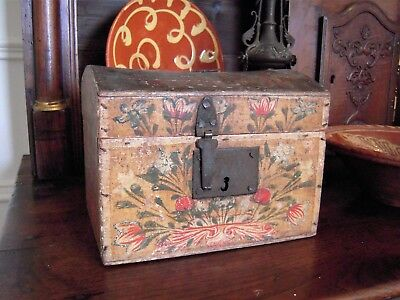 Antique French Bride's Box Folk Art Painted Wood 19th Century