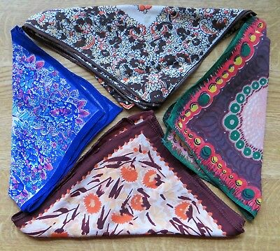 Vintage Silk Crepe Ladies Hankies Handkerchiefs