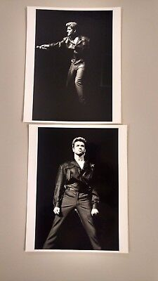 Two Black and White photographs of George Michael