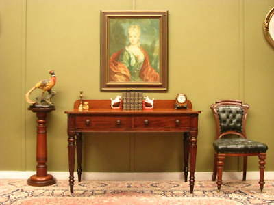 FINE ANTIQUE MAHOGANY 2 DRAWER DESK / HALL or SIDE TABLE / DRESSING TABLE c1860s