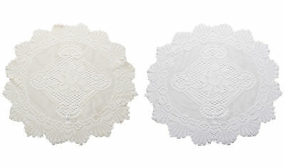 """Pair of Traditional Floral Lace Doilies Vintage Home Table Large Doyley Mat 20"""""""