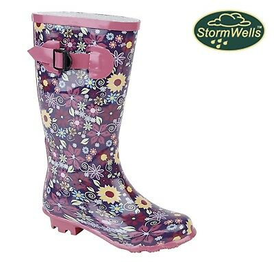 GIRLS FLORAL Wellingtons Flower Strap Welly Boots  Pink Purple Size 11 12 13 1 2