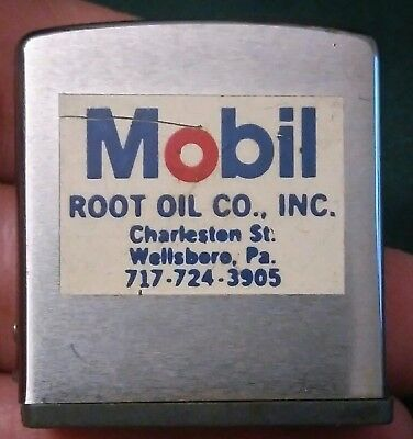 Vintage MOBIL Root Oil Co. Wellsboro Pa Zippo advertisement tape measure