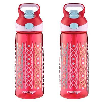 Contigo AUTOSPOUT Striker Kids Straw Water Bottle 20oz Ruby Dot Weave (2-Pack)