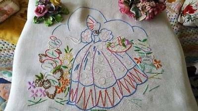 Vintage Embroidered Crinoline Lady Linen Panel