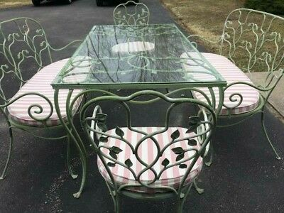 "Vintage 12 pc.  ""SIGNED"" SALTERINI Iron Patio set~ORIGINAL GREEN Paint~SUNBRELLA"