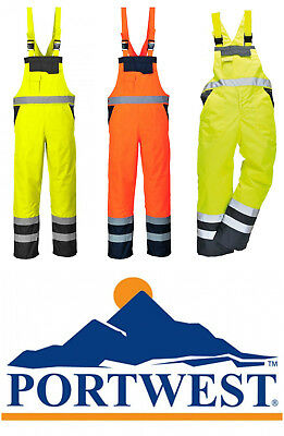Portwest Hi Vis Contrast Bib and Brace Genuine Waterproof Overall Workwear S488