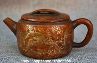 "7"" Marked Old China Yixing Zisha Pottery Gilt Dynasty Dragon Teapot Teakettle"