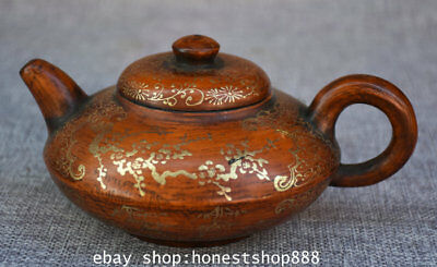 "6"" Marked Old China Yixing Zisha Gilt Dynasty Plum Blossom Wine Tea Pot Flagon Q"