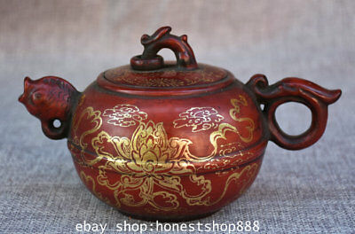 "7"" Marked Chinese Yixing Zisha Gilt Palace Lotus Fish Handle Teapot Teakettle X"