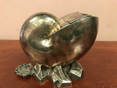 Antique Victorian Nautilus Silver Plated Shell Spoon Warmer. C. 1870's England.