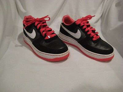 Girls Size 6Y NIKE AIR BLACK / PINK SNEAKERS SHOES AF-1 EUC!! 314219-003