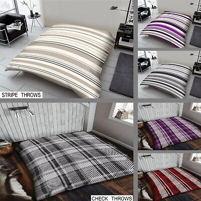 STRIPE CHECK Faux Fur Throws Mink Throw Fleece Throw Bed Soft Warm Blanket