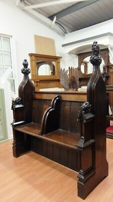 Victorian Oak Two Division Pew Seat Chair Solid Wooden Antique Church 1340mm