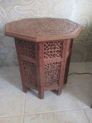20Th Century Hardwood Carved Octagonal Side Table India
