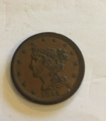 1851 Liberty Half Cent Mature Head Braided Hair United States Coin