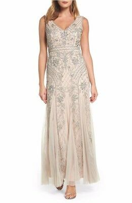 ADRIANNA PAPELL SEQUIN GOWN MOTHER OF THE BRIDE DRESS size 10