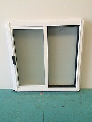 Aluminium Sliding Window White 600H x 600W Obscure Glass