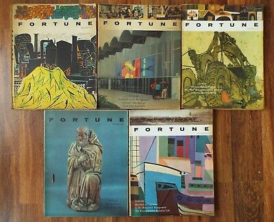 Lot of 5 Vintage Fortune Magazines from 1957-1958 - Business, Money