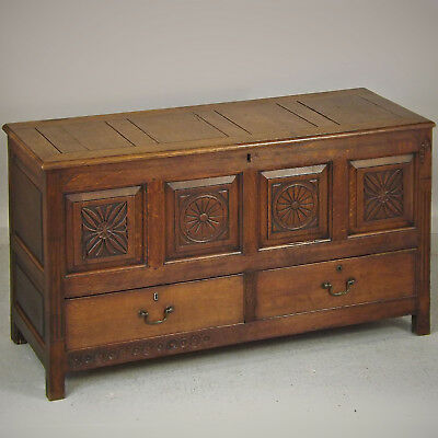 Antique Coffer / Mule Chest - Oak, Carved, C1750 (delivery available)