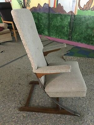 SUPER RARE mid century McKay Furniture Co. Spring Rocker Rocking Chair. Minty