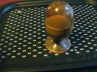 Treen fitted eggcup with clock