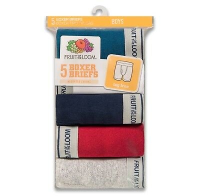 Boy's Fruit of the Loom 5-Pack Boxer Briefs, Assorted Colors; Small or Medium