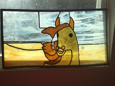 Leaded Stained Glass Panel of Golden Horse - Artist Unknown