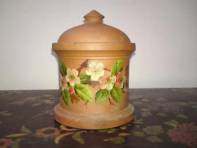 Handpainted Longpark Pottery Terra Cotta tobacco jar pot