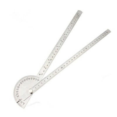 Rotating 180 Degree Measure Protractor Metric Ruler 250mm Silver P8W7