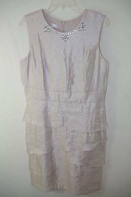 London Times Oyster Shimmer Cocktail Party Dress Evening Wedding 14p 14 Petite