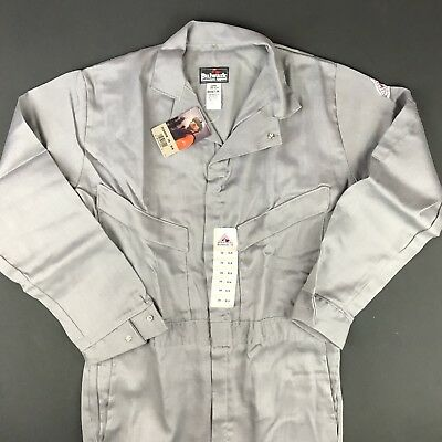 New BULWARK FR Flame Resistant Gray ComforTouch Summer 6oz Coveralls Sz 38 Long