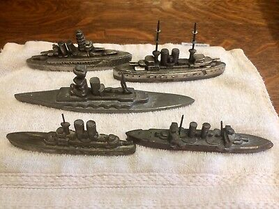 Five Japanese World War II (WWII) Warship Model Souvenir Buildings, metal, rare
