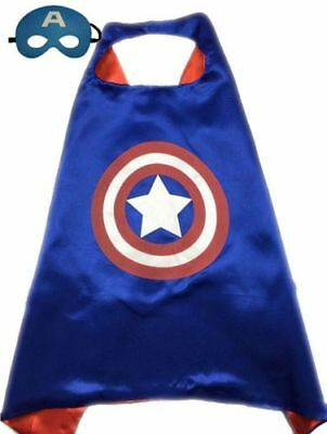 """27"""" Childrens Play Halloween Costume Cape Mask Blue Captain America Age 3-10 yrs"""