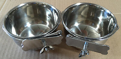 2 of Versatile Stainless Steel Coop Cups For Pet and Animal Cages -- 4""