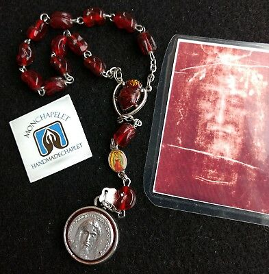 Chaplet of the Most Precious Blood 12 beads pocket size  with the card prayers