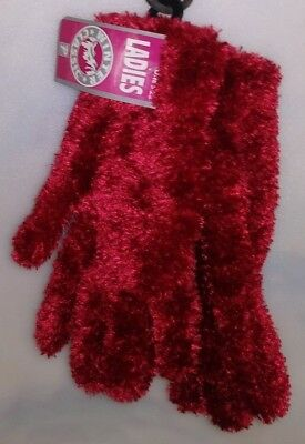 Winter Classic 1 Pair Ladies Knit Gloves Red W/ Shinny Fuzzy Outer 1 Size A-18