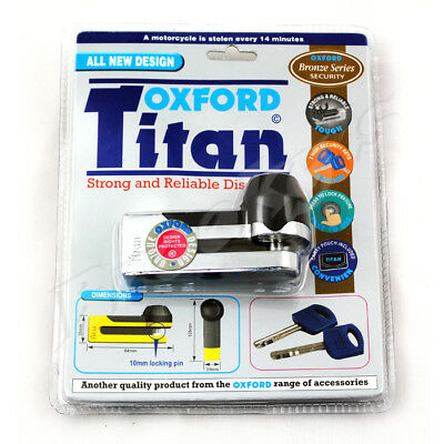 Oxford Titan Strong and Reliable Disc Lock Motorcycle Lock Chrome OF50